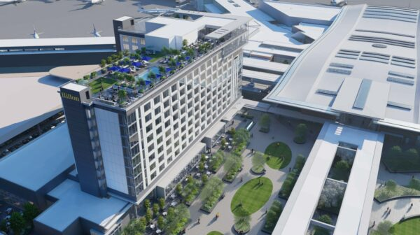 Rendering of Hilton BNA International hotel and plaza